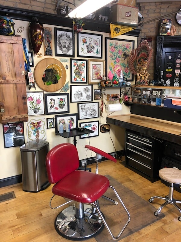 Milwaukee tattoo artist Mike D's workspace, at Walker's Point Tattoo
